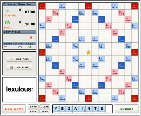 Scrabble Online - Lexulous Interface