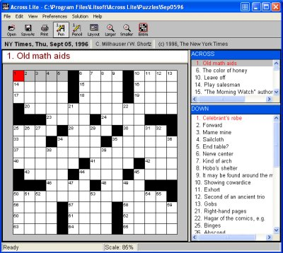 Across Lite Crossword Software Screenshot
