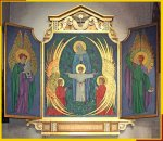 Reredos with triptych open