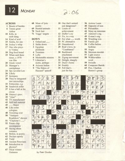 Fastest Crossword Solver Puzzle
