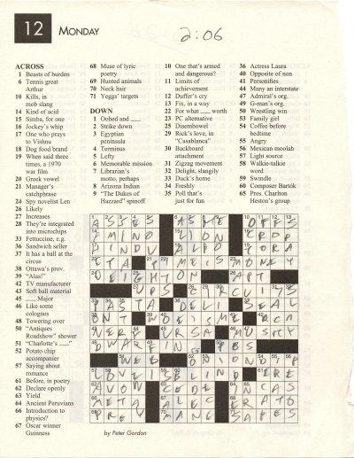 Fastest Crossword Solver Puzzle