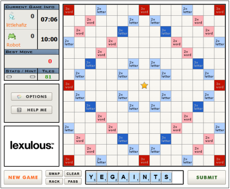 Scrabble Online - Lexulous Interface