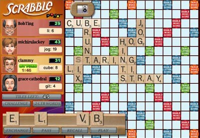 Scrabble Online - Pogo Interface
